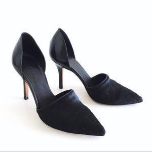 Vince Claire Pony Hair Leather d'Orsay Black Pumps